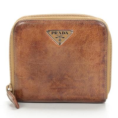 Prada Brown Leather Zip Wallet