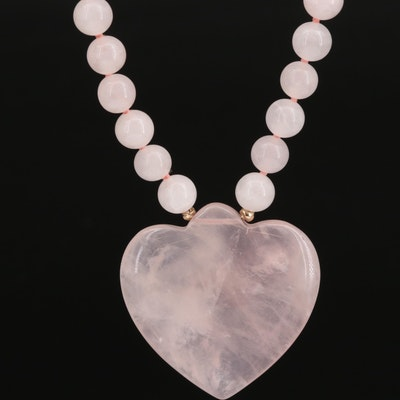 Rose Quartz and Semi-Baroque Pearl Heart Necklace with 14K Closure and Accents