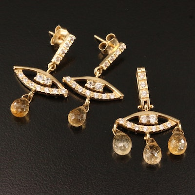 "14K Citrine and Cubic Zirconia Girandole ""Evil Eye"" Pendant and Earring Set"