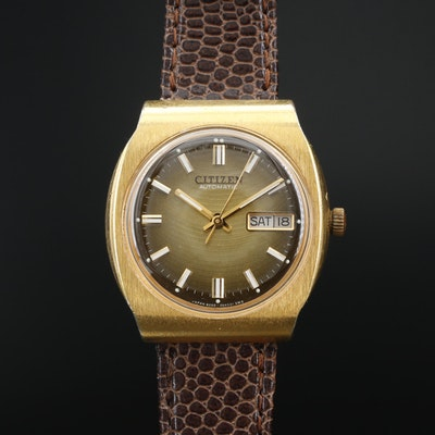 Vintage Citizen Day-Date Gold Tone Automatic Wristwatch