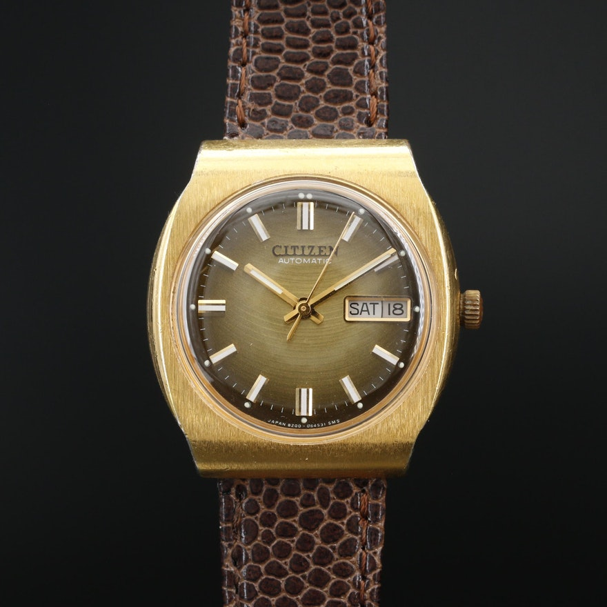 Vintage Citizen Day-Date Gold Tone Automatic Wristwatch