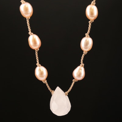 Pearl and Rose Quartz Necklace with Sterling Silver Clasp