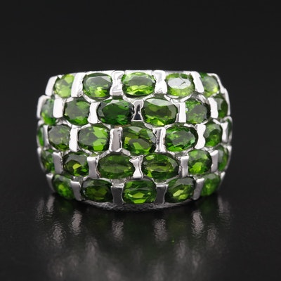 Sterling Silver Diopside Domed Cluster Ring