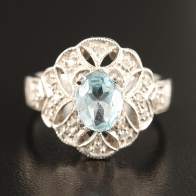 14K Topaz and Diamond Ring with Milgrain Detail