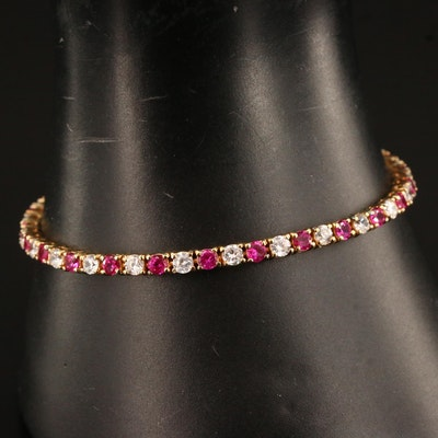 Sterling Silver Ruby and Cubic Zirconia Tennis Bracelet