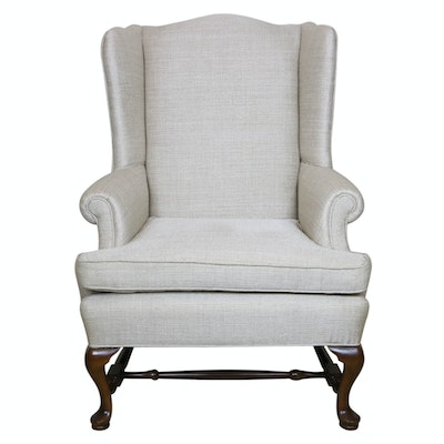 Ethan Allen Queen Anne Style Upholstered Wingback Chair