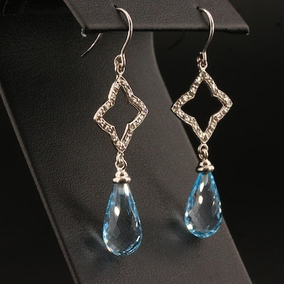 David Yurman Sterling Silver Blue Topaz and Diamond Quatrefoil Earrings
