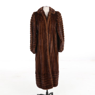 Mahogany Mink Puff Sleeve Full-Length Coat from Garfinckel's, Vintage