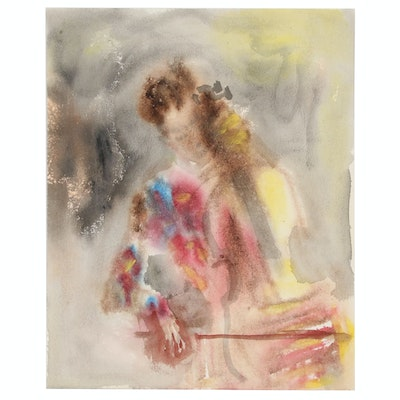 Murat Kaboulov Watercolor Painting of Cellist