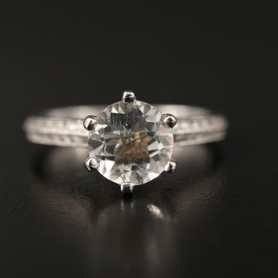 14K Topaz Cathedral Ring with Etched Shoulders