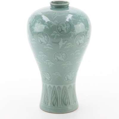 Japanese Porcelain Vase with Crane Motif
