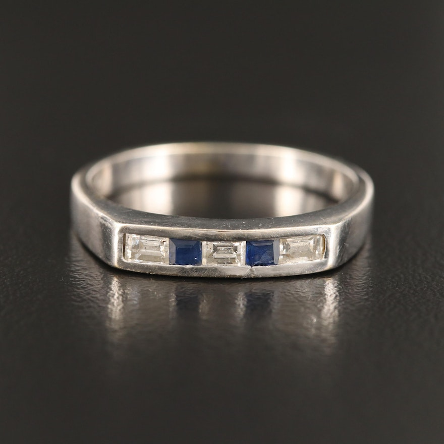 18K Rectangular Diamond and Square Faceted Sapphire Band
