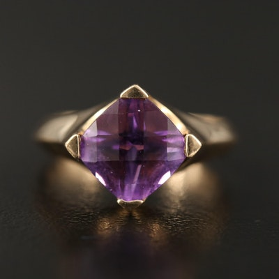 14K Amethyst Solitaire Ring with Knife Edge Shank