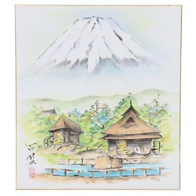 Japanese Watercolor Painting of Village and Mount Fuji