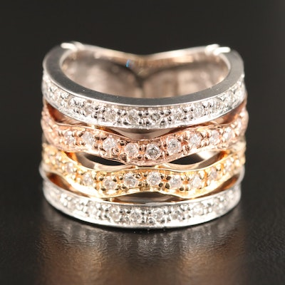 14K Tri-Color Diamond Band Including Rose Gold