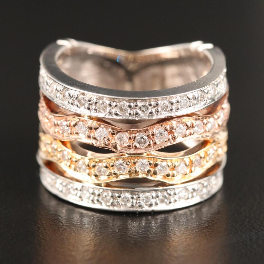 14K Tri-Color Diamond Band Including Rose Gold