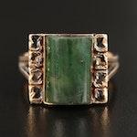 Vintage 14K Jadeite Cabochon Ring