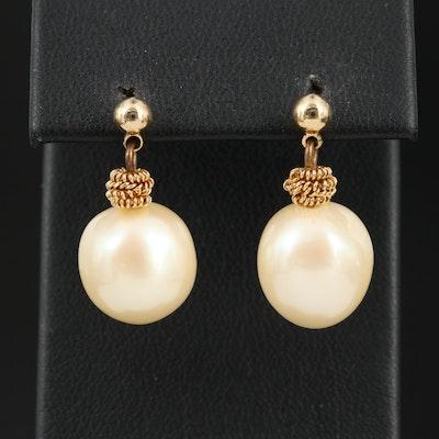 Baroque Faux Pearl Drop Earrings with 14K Backs