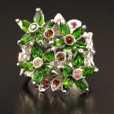 Sterling Silver Flower Motif Ring with Chrome Diposide, Tourmaline and Garnet