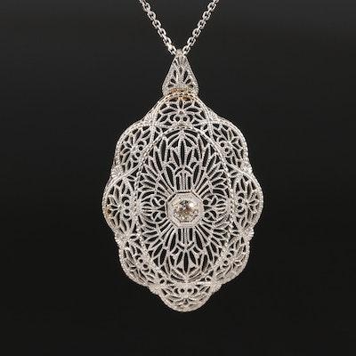 Circa 1920 14K Diamond Necklace with Platinum