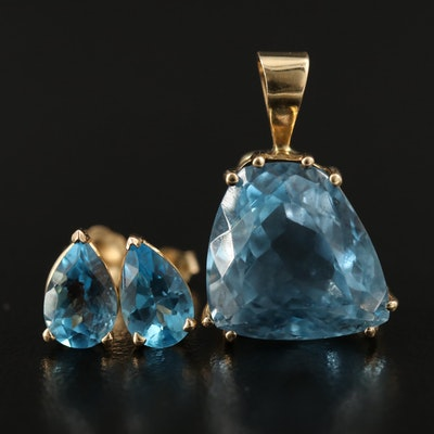 14K Topaz Pendant and Earring Set