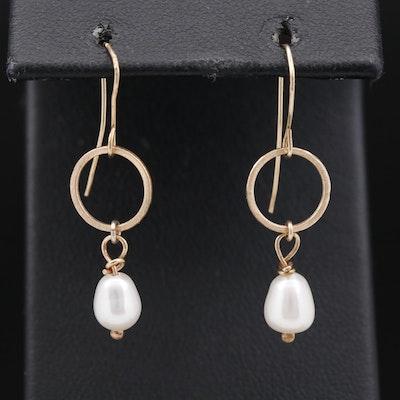 14K Semi-Baroque Pearl Dangle Earrings