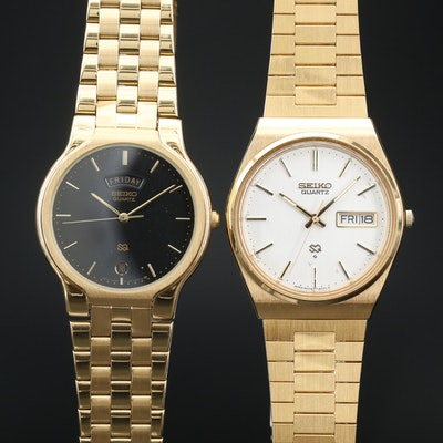Pair of Seiko Day-Date Gold Tone Quartz Wristwatch