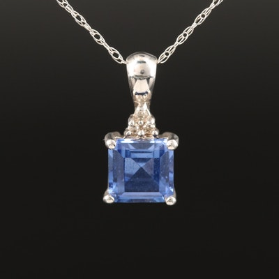 10K Sapphire and Diamond Pendant Necklace