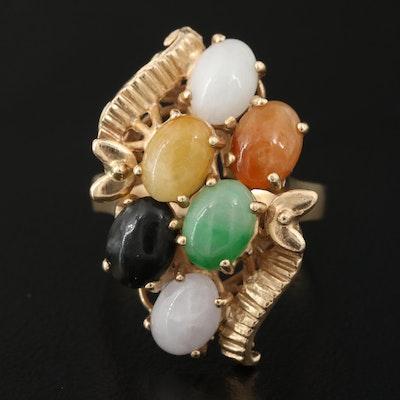 Vintage 14K Multi-Colored Color Jadeite Ring
