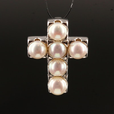 Sterling Silver Cultured Pearl Cross Pendant