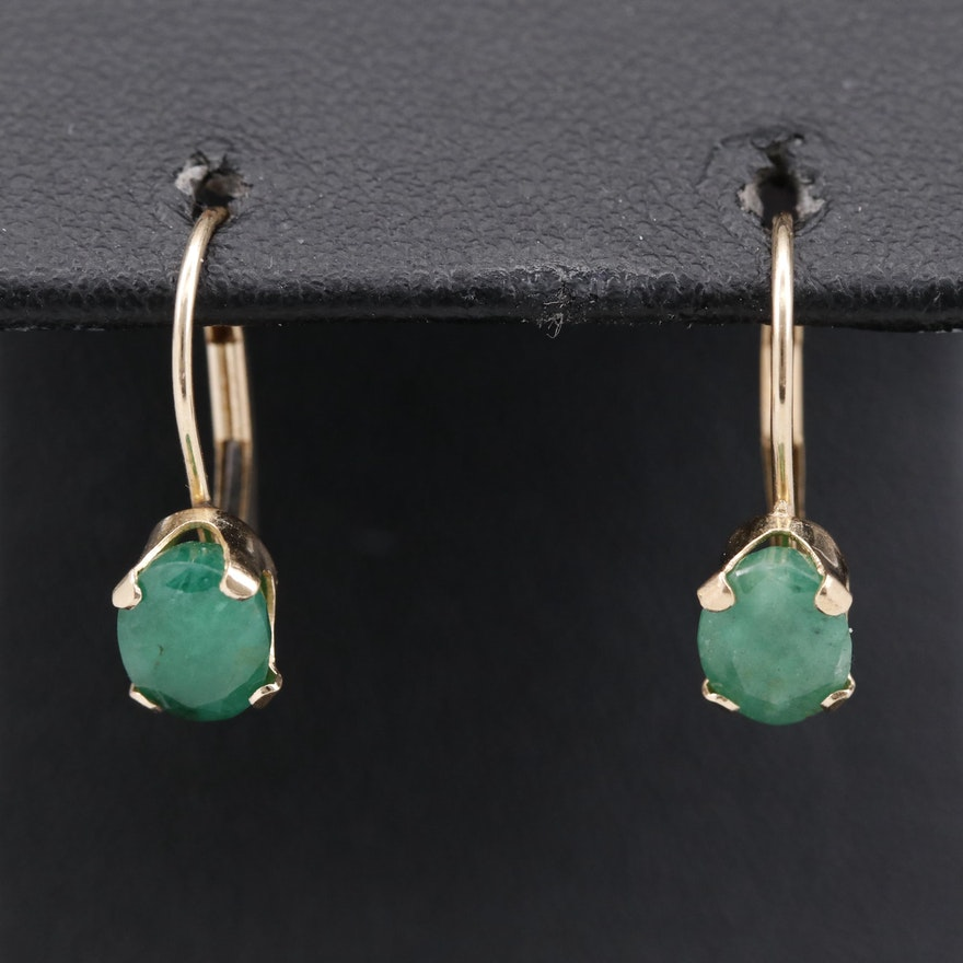 14K Emerald Drop Earrings