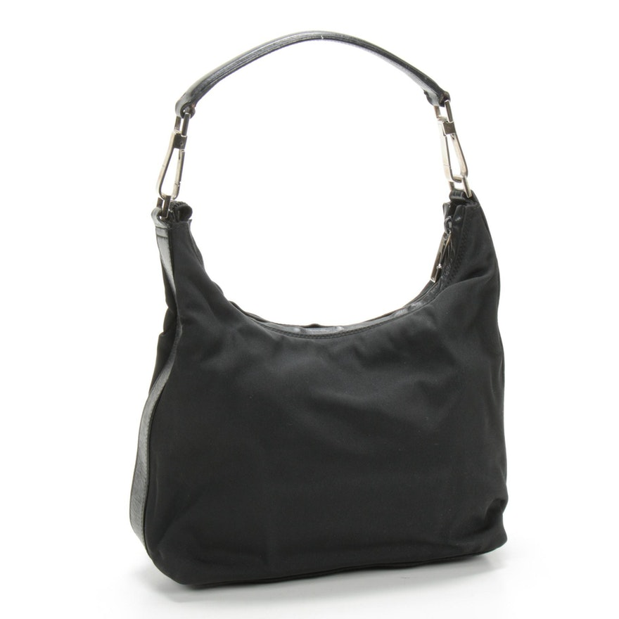 Gucci Hobo Shoulder Bag in Black Nylon Canvas with Smooth Black Leather Trim