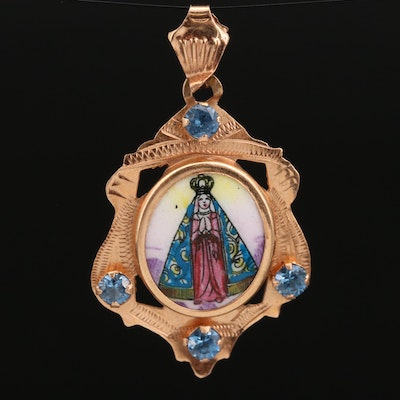 18K Spinel and Porcelain Our Lady of Aparecida Pendant