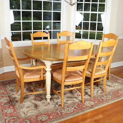 "Drexel ""American Themes"" Kitchen Table with Ladder Back Rush Seat Chairs"