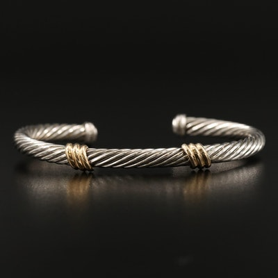 Sterling Twisted Cable Cuff with 14K Accents