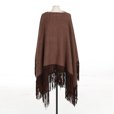 Ralph Lauren Black Label Poncho in Wool/Alpaca Blend Tweed and Suede Fringe