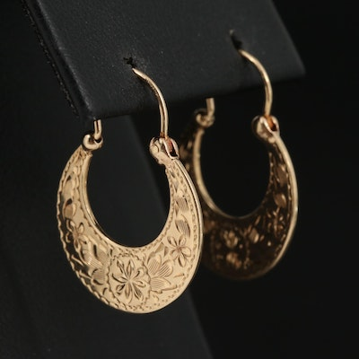 14K Engraved Crescent Hoop Earrings