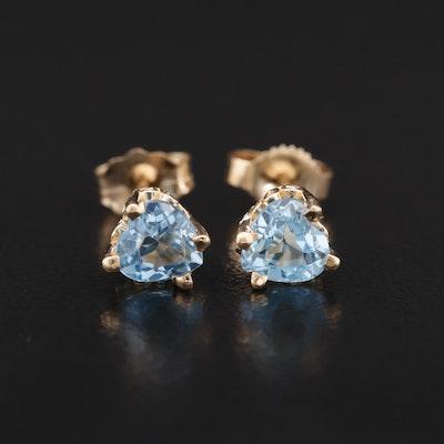 14K Heart Shaped Topaz Stud Earrings