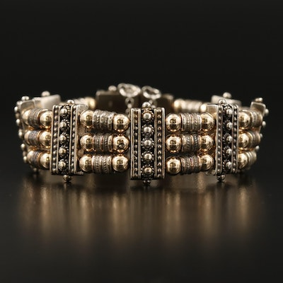 Azriel David Sterling Triple Row Bracelet with Granulation and 14K Accents