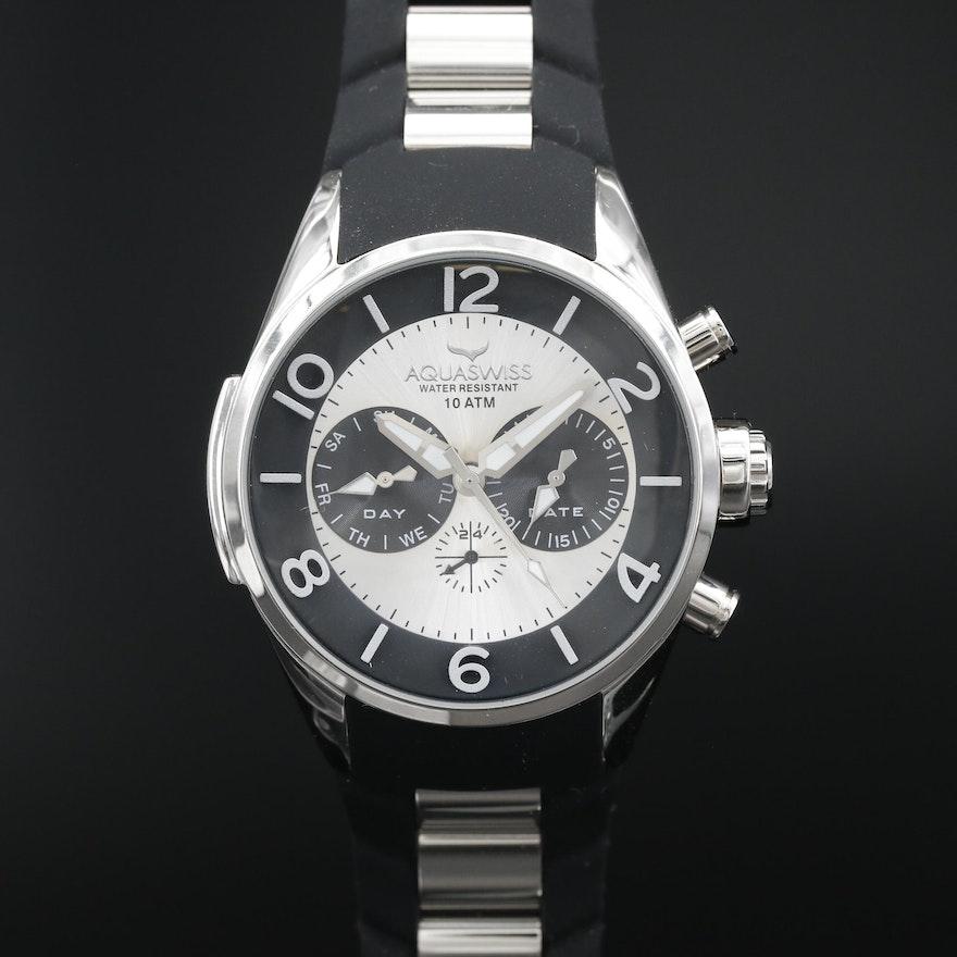 Aquaswiss Trax 5H Day-Date Stainless Steel Quartz Wristwatch