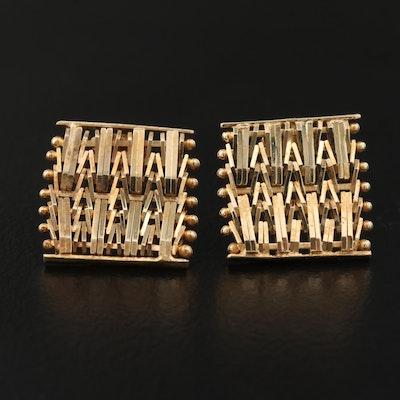14K Riccio Link Square Earrings