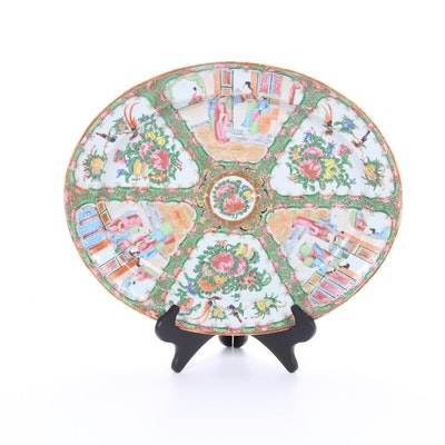 Chinese Hand-Painted Rose Famile Porcelain Platter