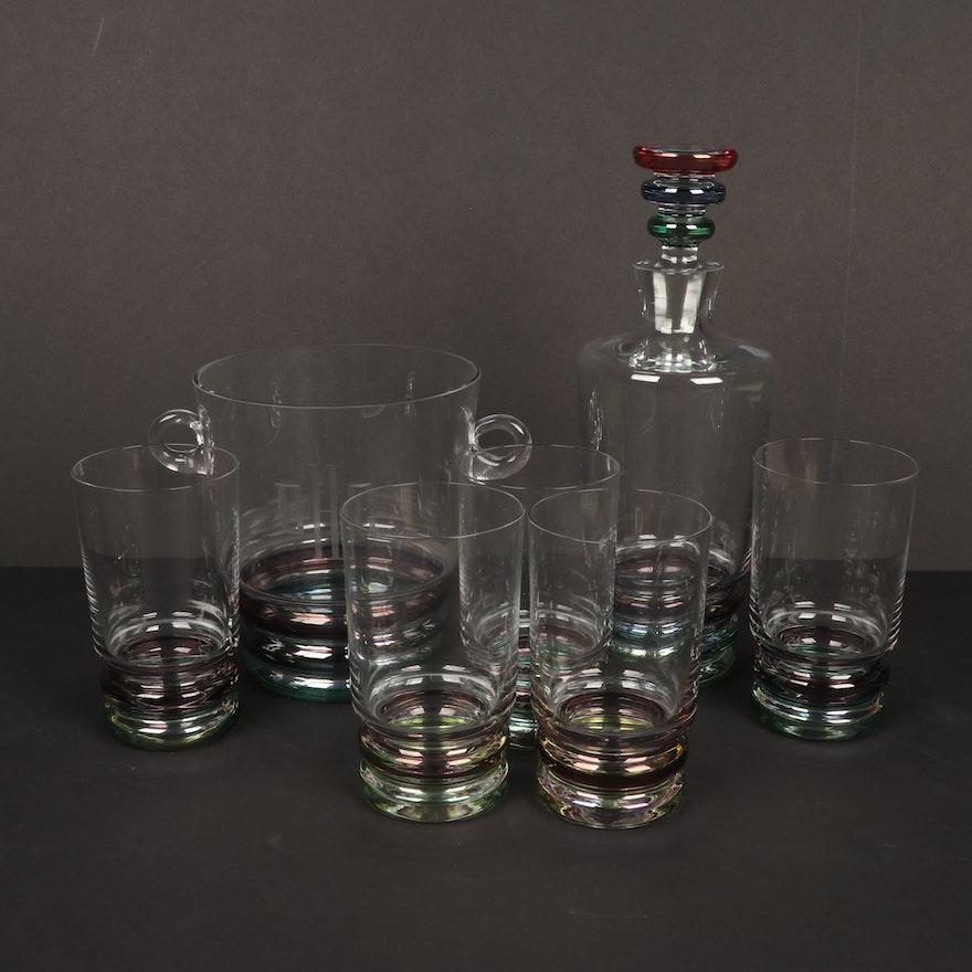 "Block Crystal ""Carnival"" Barware Set Including Decanter"