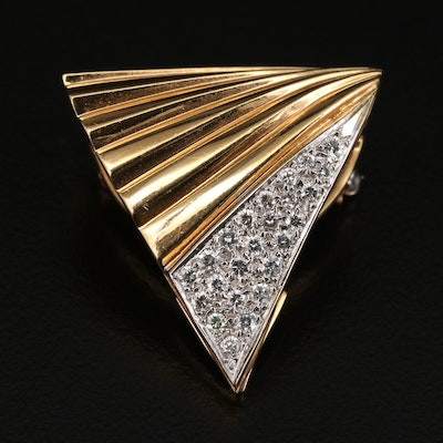14K Diamond Geometric Converter Brooch