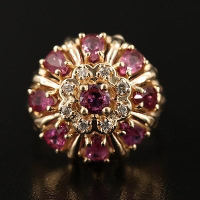 Vintage Franklin Mint Ruby and Diamond Bombé Ring