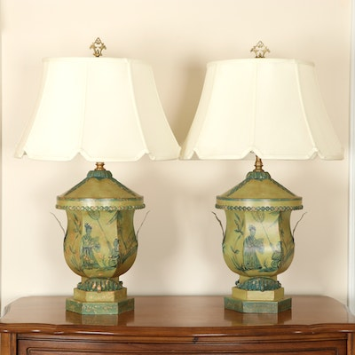 Pair of Chelsea House Chinoiserie Tole Table Lamps, Late 20th Century