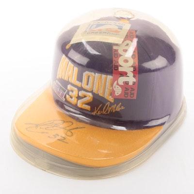 Karl Malone Signed Utah Jazz NBA Basketball Cap in Protective Holder