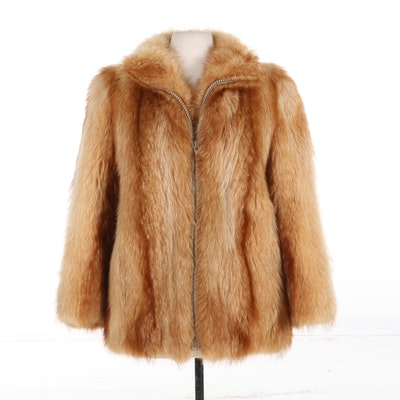 Red Fox Fur Zip-Front Jacket, Vintage