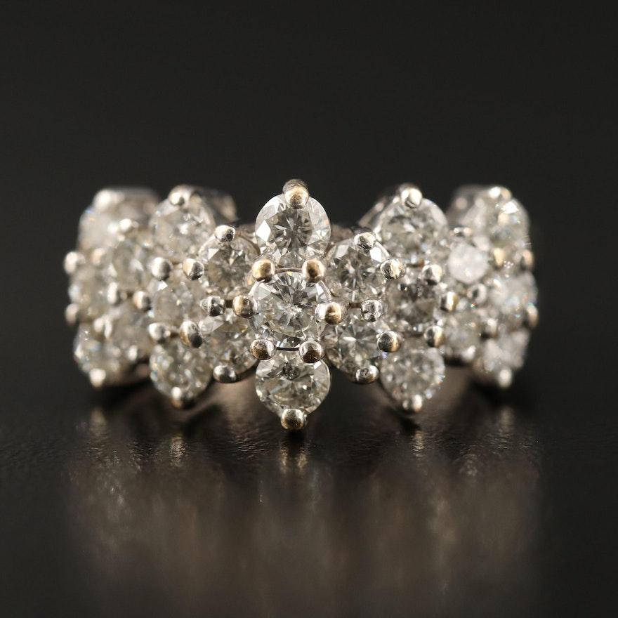 Vintage 14K 2.82 CTW Diamond Cathedral Ring