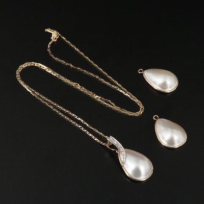 14K Pearl and Diamond Enhancer Pendant Necklace and Pearl Earring Jackets